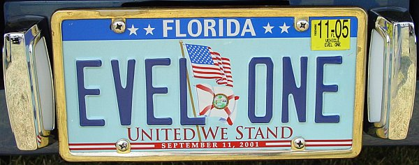 Evel One license plate