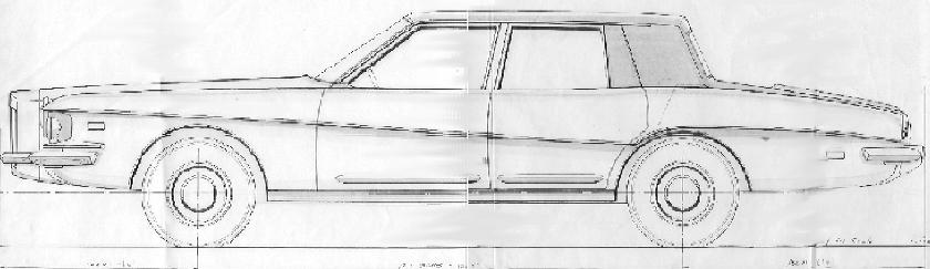 1976 sedan, design sketch by Paolo Martin